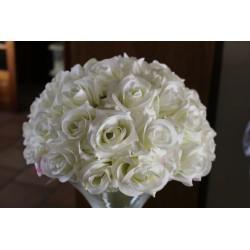 Demi boule de fleur rose et pèche D35