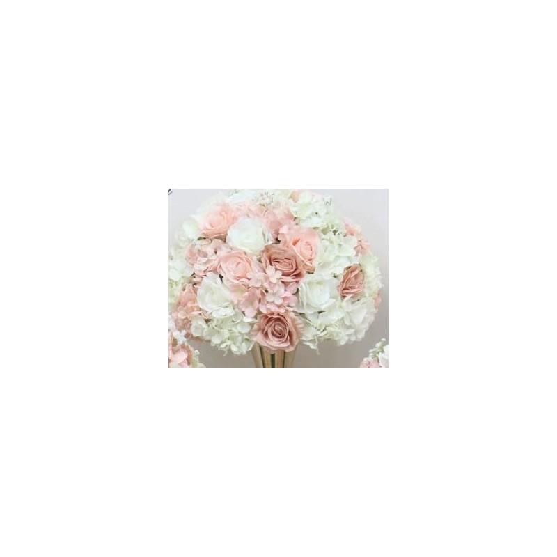 Demi boule de fleur rose et blanche D35