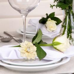 Rond de serviette or / fleur