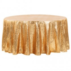 Nappe ronde sequin or