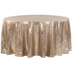 Nappe ronde sequin champagne